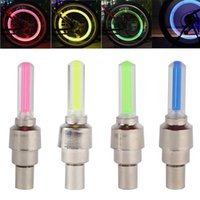 Wholesale Valve Cap Led Light Red - 2 x LED Flash Cap Light Car Motorcycle Bike Bicycle Wheel Tire Valve Cap Neon LED Lights Safety Lamp Blue Green Red Yellow