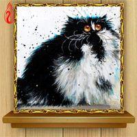Wholesale Cute Oil Paintings - YGS-356 DIY 5D Diamond Embroide The Cute Animals Round Diamond Painting Cross Stitch Kits Diamond Mosaic Home Decoration