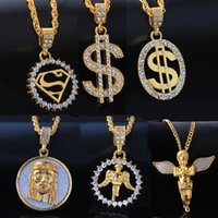 Wholesale Pendant Gold Dollar - Mixed Wholesale Punk Bling Iced Out Angel Jesus Superman S Dollar Crystal 18K Gold Cross Necklace&Pendants Hip Hop Jewelry for Men Women