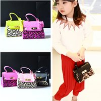 Wholesale Leopard Print Pu - DHL Free Shipping Leopard Print Kid handbag Fashion PU Leather Kids Girl Tote Baby Unique design Children bag Designer Child Purse CK036