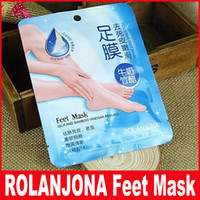 Wholesale foot care skin remover - Rolanjona Feet Mask Milk and Bamboo Vinegar Feet Mask Skin Peeling Exfoliating Dry Dead Skin Remover Feet care