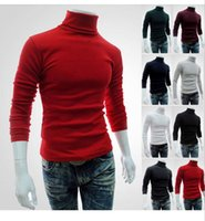 Wholesale Turtle Shirts Wholesalers - Men High Collar Knitted Sweater Solid Color Long Sleeve Winter Tops Outwear Slim Pullover Cardigan Coat Shirts LJJO3231