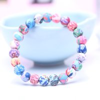Wholesale American Polymers - Wholesale HandCraft Jewelry Charm Soft Ceramic Handcraft Bracelets Women'S Polymer Clay Chain For Female Free Shipping D188S