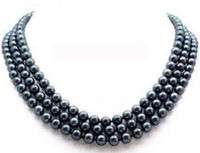 Wholesale Tahitian Pearl 19 Inch Necklace - Charming 3 rows Natural tahitian 8-9mm Black Pearl Necklace 17-19 inch 14k Gold Clasp