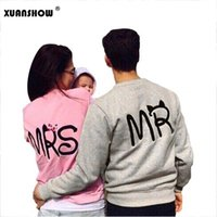 Wholesale Ms Hoodie - Wholesale- 2017 Autumn and Winter Fashion MS and MR Letters Lovers Couple Long Sleeve Fleece Shirts Hoodie Sweatershirts Casual Tank Top