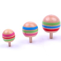 Wholesale Wooden Magic Top - Wholesale- 3Pcs Set Kids Classic Manual Wooden Colorful Spinning Top Toys Magic Inverted and Normal Rotated Novelty Gyro Gifts for Children