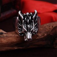 Vente en gros - nouvelle Wolf Head Domineering Retro Biker Ring Homme Bijoux Animal Dragon Anings Anel 1235