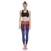 Wholesale Fast Workouts - Wholesale- Good Quality High Waist Women Red Blue Gradient Fishscale Sport Tights 3D Fast Drying Workout Leggins S To 3xL LOVE SPARK