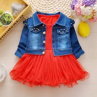 Wholesale Infant Girl Denim Dresses - 2017 Autumn Baby Girls Clothes Sets Denim jacket+Lace TUTU Princess Dress 2 Piece Kids Fashion Suits Infant Children Casual Suits