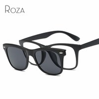 Wholesale Plastic Magnetic Clips - Wholesale- ROZA Magnetic Clip Polarized Sunglasses Mens Plastic Titanium Frame Optiacal Myopia Unisex Glasses UV400 QC0511