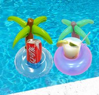 heigth 58cm Plastic Bath Wholesale- Mini Coconut Tree Drink Holder Inflatable Float Swim Pool Beach Party Kids Adult Swim Beverage Holders Baby Bath Classic Toy