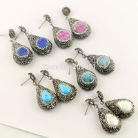 Mais novo para mulheres 5Pair Pave Rhinestone Druzy Drusy Quartz / Shell / Turquoise Charms Dangle Earrings Jewelry Findings