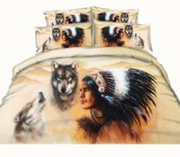 Wholesale Wolf Print Bedding Sets Queen - Hot Fashion Design Indian Wolf 3D Reactive Printed High Quality Bedding Sets Twin Full Queen King Size Bedspreads Duvet Covers Animal 3 4PCS