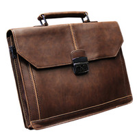 "Wholesale Vintage Leather Briefcase Laptop - Wholesale- Vintage Men's Bag Crazy Horse PU Leather File Briefcase Men Messenger Bags Fashion Portfolio 12"" Laptop Handbag"
