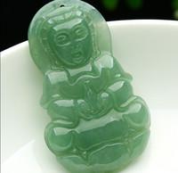 Wholesale Carved Kwan Yin Pendants - Excellent 100% A Grade Natural Jade Jadeite Carved Kwan-Yin Pendant 1pcs