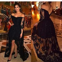 Wholesale Three Quarter Sleeve Evening Gowns - New Arrival Custom made Off the shoulder Lace Beading Black Evening dress High low Three quarter Plus size Evening gowns