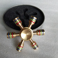 Wholesale Nice Materials - Nice Bearing Rainbow Fidget Spinner Finger Spiner Hand Spinner Brass Material For Autism Adult Anti Relieve Stress Puzzle Toy