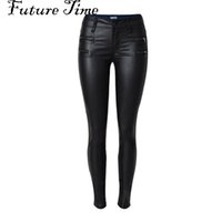 Wholesale Sexy Leather Skinny Jeans - Wholesale- 2017 spring women jeans faux PU leather jeans coated slim skinny pencil pants sexy stretch tight femme skinny black jeans C0448