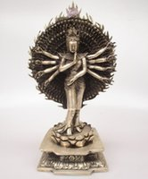 Wholesale Tibet Wood Carvings - Antique antiques Collectible Decorated Old Handwork Tibet Silver Carved Avalokitesvara Buddha Statue  More Hands Sculpture