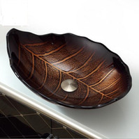 oval countertop basins - Leaf shape of the tempered glass basin with brown oval bathroom and toilet sink on the counter to install