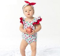 Wholesale Santa Baby Romper - 2017 kids christmas clothes baby girl romper + headbands baby ruffle bodysuits kids cotton rompers baby girls summer clothes santa jumpsuits