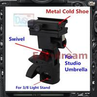 Wholesale Umbrella Swivel Metal - Wholesale-Metal Flash Stand Cold Shoe Umbrella Holder Swivel Bracket B Type For Studio Flash Light Stand PF261
