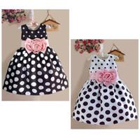 vestido branco preto pontos crianças venda por atacado-América estilo europa meninas vestido de verão crianças vestidos ponto impressão sem mangas mid-calf estilo rosa flor floral preto ou branco vestidos