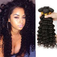 Wholesale Deep Wave Human Hair 5pcs - Anemone Unprocessed Peruvian Malaysian Brazilian Virgin Hair Bundles 5pcs lot Double Weft Deep Wave Human Hair Weaves Extensions 8-30inch