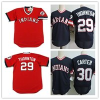 Wholesale Indians Throwback Jersey - Mens cheap 29 ANDRE THORNT 1977 Throwback Cooperstown Jersey stitched 30 JOE CARTER Indians 1984 cool base Jersey S-3XL