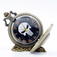 Wholesale Antique Pocket Watches Skull - Vintage Retro The Punisher Skull Dial Roman Numeral Quartz Pocket Watch Analog Pendant Necklace Men Women Watches Chain Gift