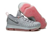 Wholesale Kd Prices - KD 9 Grey Preheat kids men women shoes Wholesale prices Kevin Durant Basketball shoes free shipping US5.5-US12