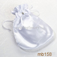Wholesale White Purse For Wedding - Inexpensive Bridal Handbag White Small Pocket for Brides with Bowknot Handmade Wedding Bags Lovely Bridal Hand Bags Purse