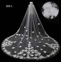 Wholesale Beaded Floral Veils - Romantic 3D Floral Applique Beaded Cathedral Wedding Veils 2017 One Layer Long Tulle Handmade White Bridal Gowns Ball Veil EN-1