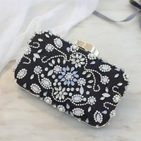 Wholesale Long Chain Handbags - Luxury Beaded Crystal Handbags 2017 Mini Black Flap With Two Short And Long Chain Bridal Evening Brides Wallets Handbags Clutches Purse