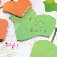 Wholesale Class N - Wholesale- 2PCS LOT GENKKY Realistic leaves post N class notes posted green maple message posted stickers
