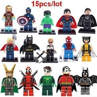 Wholesale Mini Super Heroes - 15pcs set Super Hero Figures Toys The Avengers Toys Big Hulk Hobbies Classic Toys mini Action Figures DIY Building Blocks Bricks