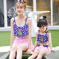 Wholesale Two Piece Swimsuit 4t - Parent-Child two Piece Family Clothes Swimsuit Swimwear, Mom Baby Girl's Pure Color Sleveeless Outfit Set Bikini Bathing Suit Summer Beach