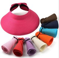 Wholesale New Fashion Women Lady Foldable Roll Up Sun Beach Wide Brim Straw Visor Hat Cap IMC