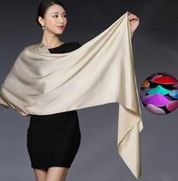 Wholesale Mixed Scarfs - 2017 100% Silk Satin Long Scarf Pure Mulberry Silk solid Plain Color Silk Scarf 25 colors mixed 5pcs lot #4018