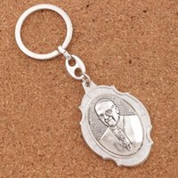 Wholesale Peace Rings - 12pcs lot Pope Francis Saint Francis Prayer for Peace Blessed Prayer 2 inch Medal Keychain Travel Protection Key Ring K1742 12colors