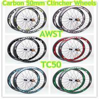 22 fahrrad großhandel-Original carbonfelgen 50mm vollcarbon fahrradfelgen glänzend klammer basalt oberfläche china radfahren felgen mit powerway naben kostenloser versand