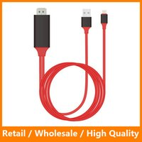 Wholesale Iphone Video Screen - Red 2M HDMI Cable Adapter for iPhone 5 6 6s 6 Plus iPad iPod Screen Video to HDMI HDTV With Retail Packing