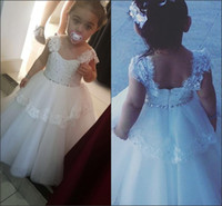 Wholesale Dress Gril Blue - Tulle Lace Rhinestone Cute Toddler Kids Dresses Floor Length Ball Gowns Sleeveless 2017 Lovely Flower Gril Dresses