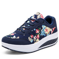 Wholesale Stripe Wedges - High Quality Stripe Floral Platform Slimming Shoes Woman 2016 Breathable Wedges Heel Casual Shoes Women Trainers Thick Sole