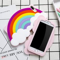 Wholesale Silicone Case Iphone Rainbow - Rainbow cloud Cartoon Silicone Case For iPhone 6 6S Plus 7 Plus Shockproof Cute Stereo Soft Gel Back Skin Cover Drop Shipping