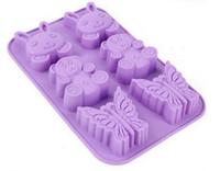 coelho de geléia venda por atacado-100 pçs / lote, 6 furos coelho urso forma de chocolate molde diy silicone decoração do bolo molde de geléia de gelo molde de cozimento molde de chocolate