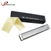 Wholesale Wholesale Instrument Cases - Wholesale-New Key of G 24 Double Holes Mouth Organ Swan Tremolo Harmonica with 48 Reeds Free Reed Wind Instrument with Case Cleaning Cloth