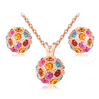 Wholesale jewelrys sets - Jewelry sets wedding rose gold fashion girl Austria crystal party lover gift Simple classic women Earrings necklace set Jewelrys