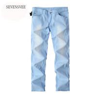 Großhandels- 2016 heiße Verkaufs-Art- und Weisebeiläufige dünne dünne  Entwerfer-Denim-Himmel-Blau-Jeans-Männer Einzelverkauf Großverkauf dünne  männliche ... 1f16ab6635