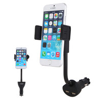 Wholesale Samsunggalaxy Chargers - Wholesale- Universal Car Phone Holder Mount 2.1A Dual USB Charger Stand Cradle Cigarette Lighter for SamsungGalaxy Lenovo Xiaomi Smartphone